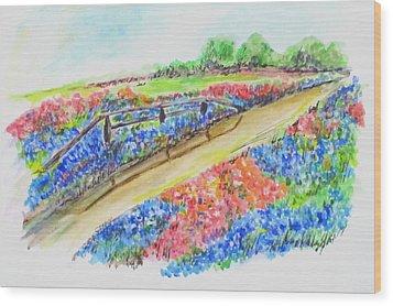 Texas Wild Flowers Wood Print by Clyde J Kell