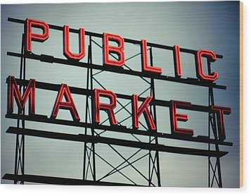 Text Public Market In Red Light Wood Print by © Reny Preussker