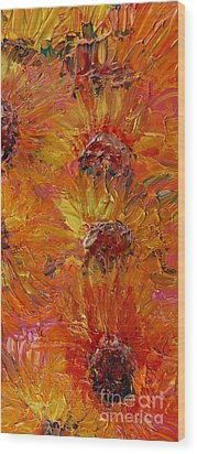Textured Sunflowers Wood Print by Nadine Rippelmeyer