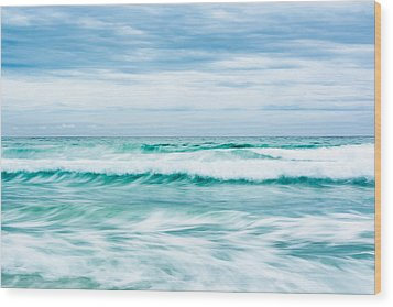 Textures In The Waves Wood Print by Shelby  Young