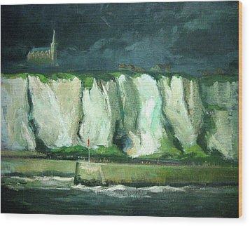Tha Cliffs Of Etretat At Night Wood Print by Zois Shuttie