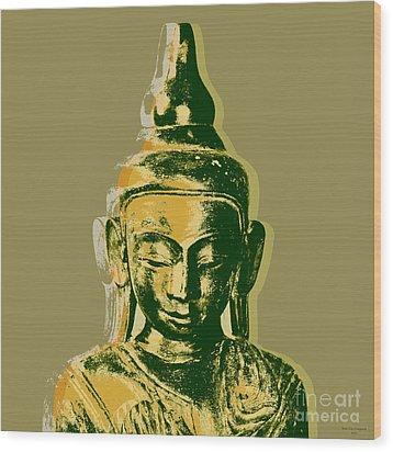 Wood Print featuring the digital art Thai Buddha #4 Pop Art Warhol Style Print.  by Jean luc Comperat