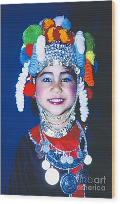 Wood Print featuring the photograph Thai Girl Traditionally Dressed by Heiko Koehrer-Wagner