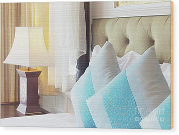 Wood Print featuring the photograph Thai Style Bedroom by Atiketta Sangasaeng