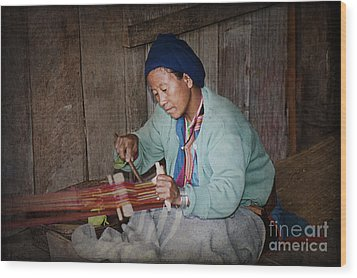 Wood Print featuring the photograph Thai Weaving Tradition by Heiko Koehrer-Wagner