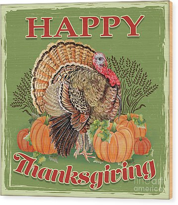 Wood Print featuring the painting Thanksgiving-b by Jean Plout