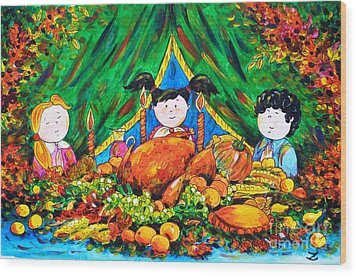 Thanksgiving Day Wood Print by Zaira Dzhaubaeva