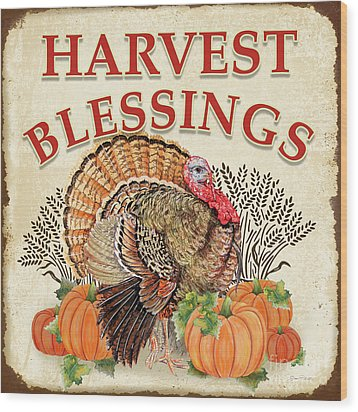 Wood Print featuring the painting Thanksgiving-e by Jean Plout