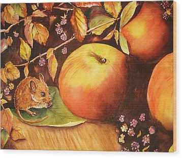 Thanksgiving Mouse Guest Wood Print by Patricia Pushaw