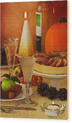 Thanksgiving Table Wood Print by Amanda Elwell