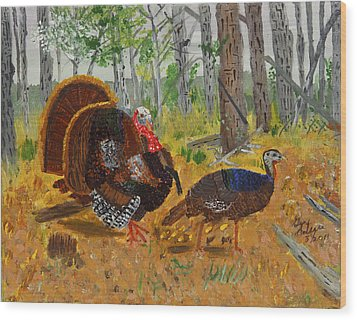 Thanksgiving Turkey Wood Print by Swabby Soileau