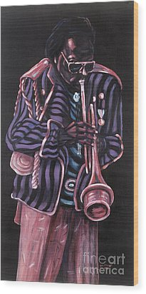 thanx Miles Davis Wood Print by George Chacon