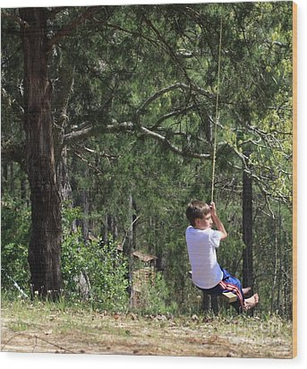 Wood Print featuring the photograph That Ole' Rope Swing by Kim Henderson