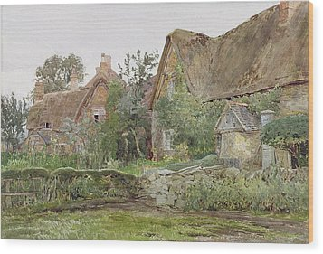 Thatched Cottages And Cottage Gardens Wood Print by John Fulleylove