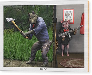 Wood Print featuring the painting That's What You Think Wolf by Dave Luebbert
