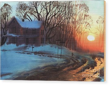 Wood Print featuring the painting Thaw by Sergey Zhiboedov