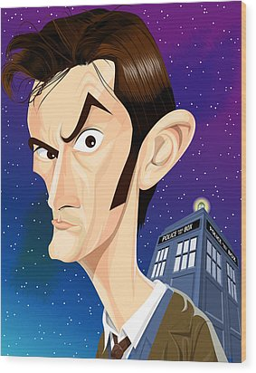 The 10th Doctor Wood Print by Kevin Greene
