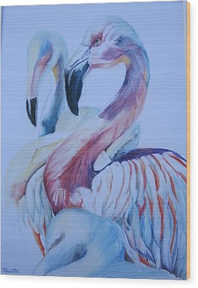 The 3 Flamingos Wood Print