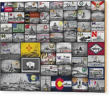 Wood Print featuring the digital art The 50 States And Their Battleships by JC Findley