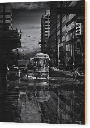 Wood Print featuring the photograph The 512 St. Clair Streetcar Toronto Canada Reflection by Brian Carson