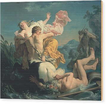 The Abduction Of Deianeira By The Centaur Nessus Wood Print by Louis Jean Francois Lagrenee