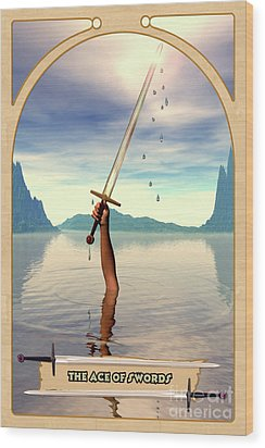 The Ace Of Swords Wood Print by John Edwards