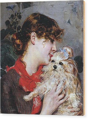 The Actress Rejane And Her Dog Wood Print by Giovanni Boldini