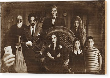 The Addams Family Sepia Version Wood Print