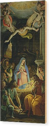 The Adoration Of The Shepherds Wood Print by Federico Zuccaro