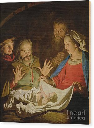 The Adoration Of The Shepherds Wood Print by Matthias Stomer