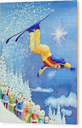 The Aerial Skier 18 Wood Print by Hanne Lore Koehler