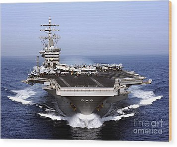 The Aircraft Carrier Uss Dwight D Wood Print by Stocktrek Images