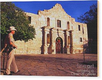 The Alamo And Ranger Wood Print by Thomas R Fletcher