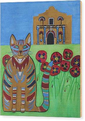the Alamo Cat Wood Print
