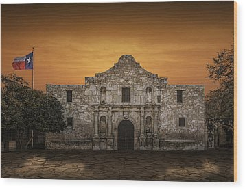 The Alamo Mission In San Antonio Wood Print by Randall Nyhof