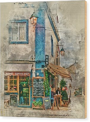The Albar Coffee Shop In Alvor. Wood Print