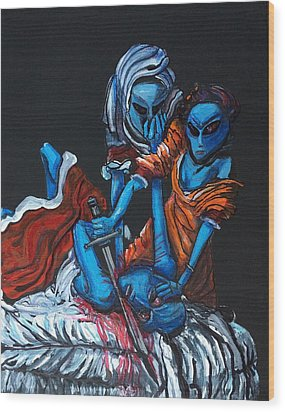The Alien Judith Beheading The Alien Holofernes Wood Print by Similar Alien