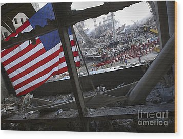 The American Flag Is Prominent Amongst Wood Print by Stocktrek Images