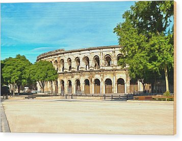 The Amphitheatre Nimes Wood Print