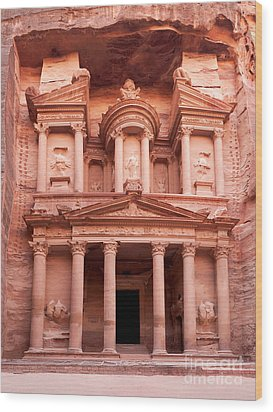 The Ancient Treasury Petra Wood Print by Jane Rix