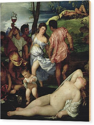 The Andrians Wood Print by Titian