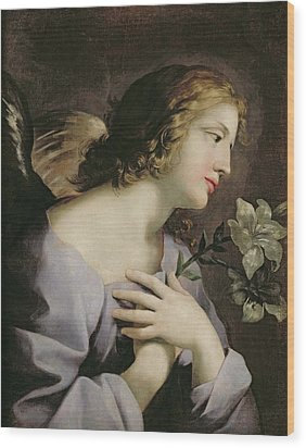 The Angel Of The Annunciation Wood Print by Giovanni Francesco Romanelli