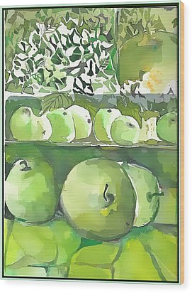 Wood Print featuring the painting The Apple Closet by Mindy Newman