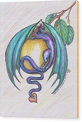 The Apple Dragon Wood Print