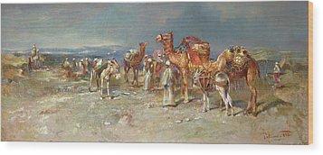 The Arab Caravan   Wood Print by Italian School