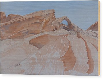 Wood Print featuring the painting The Arch Rock Experiment - Vi by Joel Deutsch