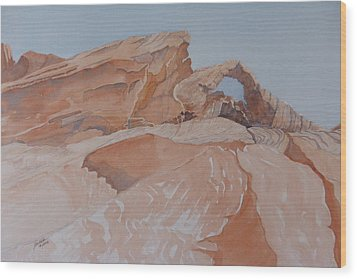 Wood Print featuring the painting The Arch Rock Experiment - Vii by Joel Deutsch