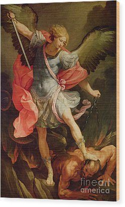 The Archangel Michael Defeating Satan Wood Print by Guido Reni