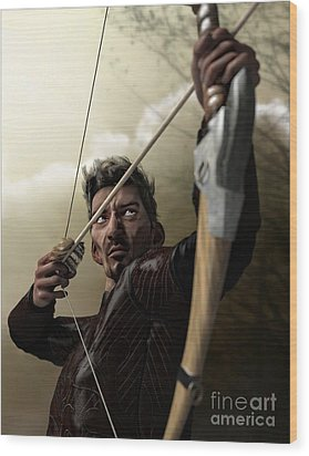 Wood Print featuring the digital art The Archer by Sandra Bauser Digital Art