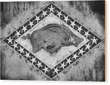 The Arkansas Razorbacks Black And White Wood Print by JC Findley